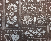 Vintage Fabric / Fruit Fabric / Flower Fabric / 1970's Fabric -By the Yard- Brown White Fabric / Strawberry Fabric / Faux Patchwork Fabric