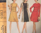 1960's Dress Pattern / Vintage Sewing Pattern / McCall's 9383 / Size 10 Bust 32.5 / A-Line Dress / Sleeveless / Short Sleeve / Long Sleeve