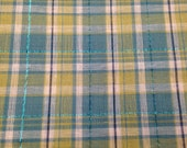 Vintage Metallic Plaid - 1 Yard - Green Blue Plaid / Blue Metallic / Cotton Plaid / Plaid Yardage / Vintage Plaid / Plaid Fabric