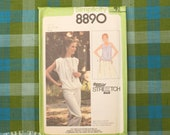 Vintage Sewing Pattern / Pullover Top Pattern / Simplicity 8890 / Size 8 10 12 / Knit Top Pattern / 1970s Shirt Pattern / QUICK LIST