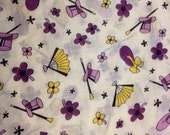 Vintage Fabric / Voile Fabric / 1950's Fabric / Top Hat Fabric / Fan Fabric / Purple Yellow Fabric -1 3/8 Yards- Cotton Fabric / Floral