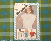 "1980's Blouse Pattern / Pullover Top Pattern / Simplicity 6301 / Size 10  / Boxy Blouse /  Bust 32.5"" / Drop Shoulder / QUICK LIST"