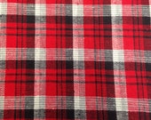 Vintage Fabric / Plaid Fabric / Red Black - 1 1/2 Yard -  Plaid Homespun / Cotton Fabric / Textured Cotton / Plaid Cotton / Red White Black