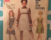 "Vintage 1960s Simplicity Mod Dress #8008 Size 12 Bust 34"" - INCOMPLETE  - Vintage Simplicity / 60s Simplicity / 60s"