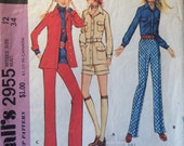 1970s Pants Pattern / Vintage Sewing Pattern / McCall's 2955 / Size 12 Bust 34 / Safari Suit Pattern / Yoked Blouse Pattern / Shorts Pattern