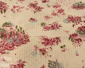 Vintage Fabric / 1940s Fabric / Floral Fabric / 1 Yard / Sheer Fabric / White Sheer / Sheer Stripe / Striped Voile / Vintage 1940s