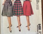 1960's Skirt Pattern / Vintage Sewing Pattern / McCall's 6408 / Waist 24 / Hip 33 / Flared Skirt / 4 Gore Skirt / Side Insets / Knee Length