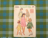 Vintage Sewing Pattern / Simplicity Dress Pattern /Simplicity 6334 / Bust 23 / Child's Size 2 / Smocked Dress / 1960s / QUICK LIST