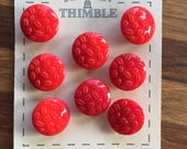 Red Glass Buttons -  Eight/ 1930s Buttons / 1940s Buttons / Vintage Glass Buttons / Vintage Sewing Notions / Vintage Sewing Supplies