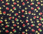 Strawberry Print Fabric - 7/8 Yard CUT - Strawberry Fabric / Fruit Print / Floral Fabric / Red Black Yellow / Black Strawberry