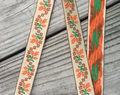 Vintage Embroidered Trim -1 Yard- Cotton Trim / Vintage Trim / Floral Trim / Tan Trim / Orange Trim / Flower Trim / Vintage Edging