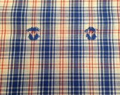 Vintage Clip Dot Lightweight Plaid Fabric - 1 yard / Clip Dot Fabric / Cotton Fabric / Red White Blue Plaid / Vintage Plaid / Red White Blue