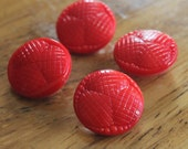 Red Glass Buttons - Four/ 1930s Buttons / 1940s Buttons / Vintage Glass Buttons / Vintage Sewing Notions / Vintage Sewing Supplies