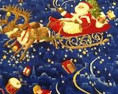 Christmas Fabric / Vintage Fabric / Santa Fabric / Cotton Fabric - 1 1/2 Yards - Sleigh Fabric / Red Blue Fabric / Blue Christmas Fabric
