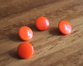 Orange Glass Buttons / Four / Shank Buttons / Vintage Glass Buttons / Vintage Buttons / Orange Buttons