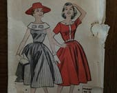 "1950's Butterick Dress Pattern #8408.  Size 12, Bust 32"" - 1950s Butterick / 50s Butterick / 1950s Dress / Big Collar Dress / Women's Dress"