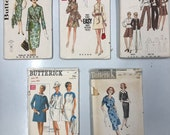 Vintage Sewing Patterns / Bust 40 / Lot of 5 / Lot #P6 / Butterick 6842 / 5654 / 2573 / 4855 / 8576 / Waist 34