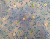 Blue White Floral Fabric -1 1/2 Yards - Blue Floral / Cotton Fabric / Quilting Fabric / Quilting Cotton / Flowers and Leaves / Blue Fabric