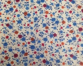 Vintage Floral Cotton Fabric - 3/4 Yard / Vintage Fabric / Blue Red Orange Floral / 1970's / Blue Flowers / Red Flowers / Orange Flowers