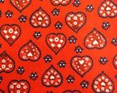 Red Hearts and Flowers Vintage Cotton Fabric - 1 Yard / Red White Blue / Red Fabric / 1970s Fabric / Red Hearts / White Flowers / Quilting