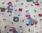 Raggedy Ann & Andy / Christmas Fabric  -1 Yard - Novelty Print / Raggedy Ann Andy Fabric / Christmas Raggedy Ann / 1978 / Bobbs Merrill