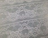 Nylon Lace Fabric - 1 Yard - Lace Yardage / Lace Fabric / Ecru Lace / Nylon Lace / Apparel Lace / Lace by Yard / White Lace / Scallop Lace