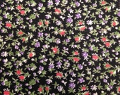 Vintage Floral Printed Cotton Fabric - 1 Yard - Fabric Yardage / Vintage Yardage / Black Purple Floral / Black Floral / 70s Floral /