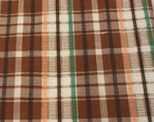 Vintage Fabric / Vintage Plaid Fabric / 1970's Fabric / Plaid Plisse Fabric -1 Yard- Cotton Poly Blend / Brown Plaid / Brown Fabric