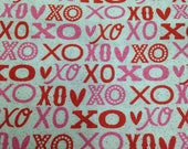 Valentine Printed Cotton - 1 1/2 Yards - Pink Red Valentines / Kiss Hug Print / XO Fabric / XO Print / Valentine Fabric / Valentine Cotton
