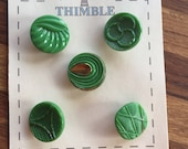 Green Gold Glass Buttons - Five/ 1930s Buttons / 1940s Buttons / Vintage Glass Buttons / Vintage Sewing Notions