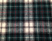 Vintage Plaid Wool Flannel - 1 5/8 yard- Plaid Wool / Green Red Plaid / Plaid Fabric / Vintage Plaid / Vintage Wool Plaid / Christmas Plaid