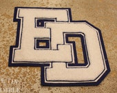 Vintage Applique / ED Applique / Letterman Jacket / High School Letters / Vintage Letter / Sew on Applique / Thick Pile Applique / Patch