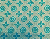 Vintage 1950's Turquoise and White Xs and Os Fabric - 1 5/8 Yards / Vintage Cotton / 1950s Cotton / Retro Print / Quilting Cotton / Cotton