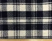 Vintage Navy Blue White Plaid 100% Wool Fabric - 1 Yard - Plaid Wool / Vintage Plaid / Blue Wool / White Wool / Wool Yardage / Vintage Wool