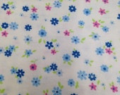 Floral Printed Flannel - 1 Yard - Flannel Yardage / Vintage Flannel / Cotton Flannel / Printed Flannel / Floral Flannel / Blue & Pink Floral