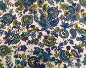 Vintage Fabric / Paisley Fabric / Floral Fabric / 17/8 Yard / Cotton Fabric / 1950s Fabric / Green Blue Teal / Paisley Floral