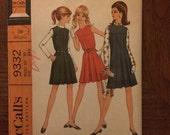 1960's Dress Pattern / Jumper Pattern / Blouse Pattern / Vintage Sewing Pattern / McCall's 9332 / Size 10 Bust 32.5 / Inverted Pleats