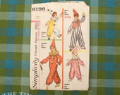 Vintage Clown Costume Pattern / Vintage Sewing Pattern for Children / Simplicity 6198 / Bust 30-32 / Halloween Costume / QUICK LIST