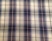 Yarn Dyed Plaid Fabric / Vintage Fabric / Plaid Fabric / Blue Purple - 1 Yard -  Plaid Cotton / Cotton Fabric / Purple Plaid / Blue Plaid