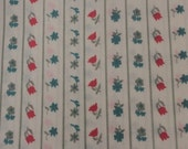Vintage Fabric / Floral Fabric / Striped Fabric / Polyester Fabric -2 1/2 Yards- Tulips / Roses / Daisies / Pink Blue / White Background