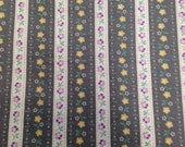 Vintage 1970s Floral Striped Cotton Fabric - 1 3/4 Yards - Fabric Yardage / Vintage Yardage / Cotton Fabric / 1970s Fabric