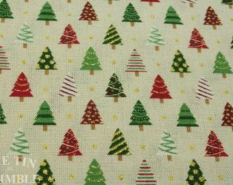 christmas fabric vintage fabric christmas tree fabric cotton fabric 1 yard tree print red green fabric christmas tree print