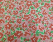 Floral Fabric / Cotton Fabric - 1 1/4 Yards - Pink Green Floral Print Fabric / Pink Fabric / Pink Floral Fabric / Green and Pink Floral