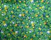 Vintage Calico Fabric / 1950s Calico / Vintage Fabric / 1 1/4 Yards / Green Orange Floral / Small Print / Small Floral Print / Green Blue