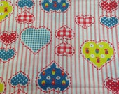 Vintage 1970s Heart Ticking  Fabric - 3/4 Yards - Fabric Yardage / Fabric Yardage / Cotton Fabric / 1970s Fabric / 70s / Ticking / Hearts