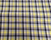 Vintage Black Grey Yellow Cotton Plaid / 1 Yard / Fabric Yardage / 1950's Vintage Yardage / Cotton Fabric/ Geometric Print / Stripes /