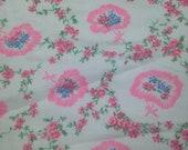 Vintage Floral Printed Flannel - 1 Yard / Flannel Yardage / Vintage Flannel / Cotton Flannel / Printed Flannel / Floral Flannel / Pink Blue