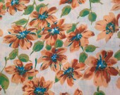 Vintage Fabric / 1960s Fabric / Daisy Fabric / Cotton Fabric -1 Yard- Fruit of the Loom / Floral Fabric / Vintage Cotton / 1960s Cotton
