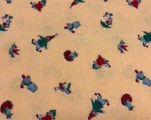 Clown Fabric / Vintage Flannel / 1950s Fabric / Toy Fabric / 2-7/8 Yards / Flawed / Juvenile Print / Yellow Flannel / 1950s Flannel / Teddy