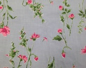 Vintage Fabric / Blue Floral Fabric / Vintage Cotton Fabric -2 Yards- Rose Fabric / 1950s Fabric / Pink Blue Flower Fabric / FLAWED